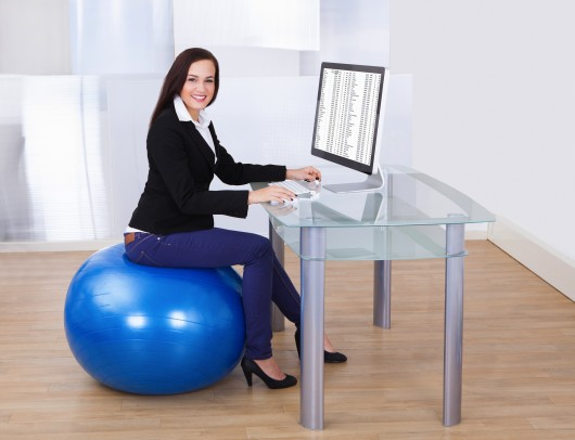 Fitness in the office work and burn calories - Stability ball for office ...