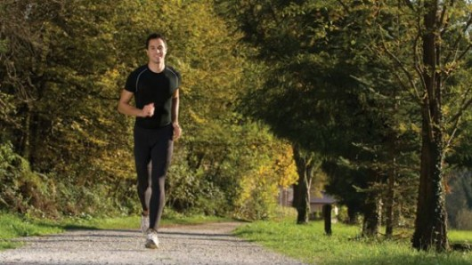A man running in the park