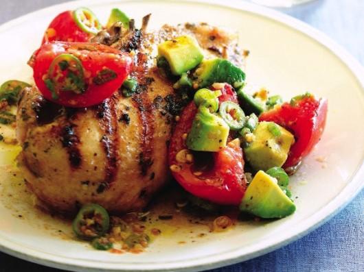 Coriander-Lime Chicken with Avocado Salsa
