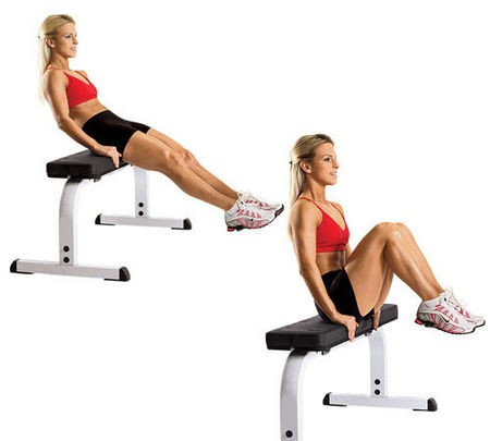 Leg Pull in Seated Flat Bench