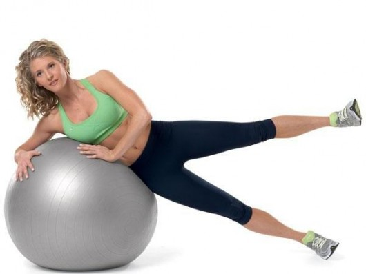 Stability Ball Side Leg Lift With Rotations