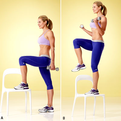 Step-Up With Bicep Curl