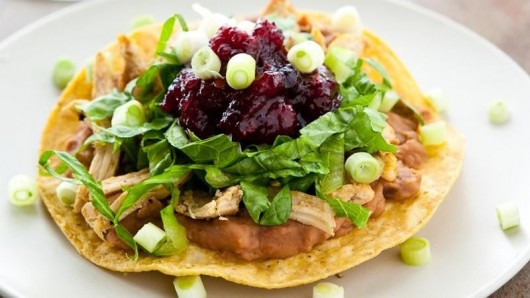 Turkey Tostadas with Spicy Cranberry Sauce