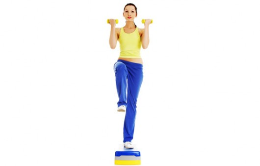 Dumbbell Step Up With Bicep Curl
