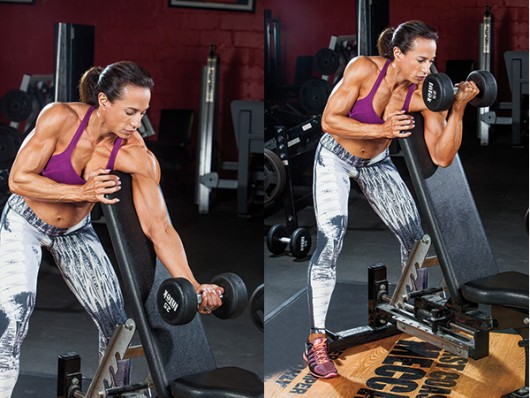 Standing One-Arm Curl Over Incline Bench