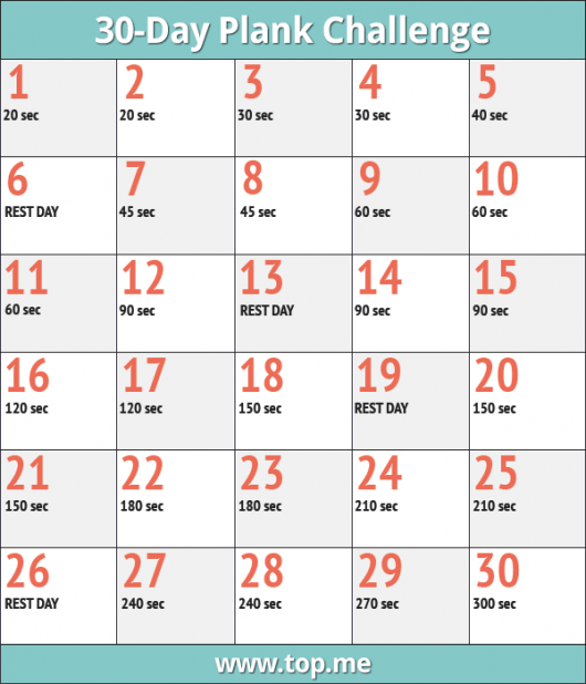 image relating to 30 Day Plank Challenge Printable identify Sign up for the 30 Working day Plank Concern for a Pretty, Restricted Main -