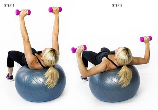 Dumbbell Decline Press on Exercise Ball