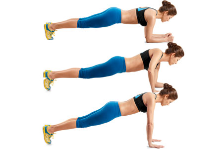 Elbow Plank with Press Ups
