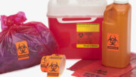 needle disposal container, liquid bodily waste, and bagged medical waste