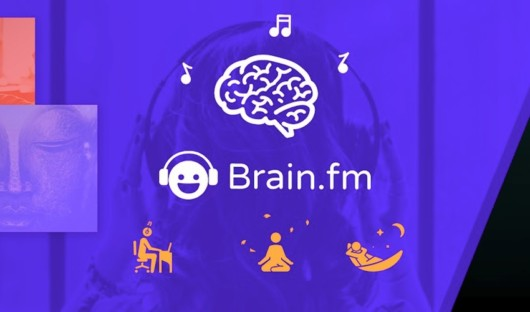 Brain.fm purple screen with options: focus, meditation, relaxation, nap, or nighttime sleep