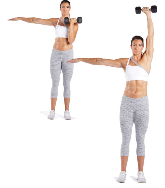 A fit girl on white is doing Dumbbell One Arm Arnold Pressexercise
