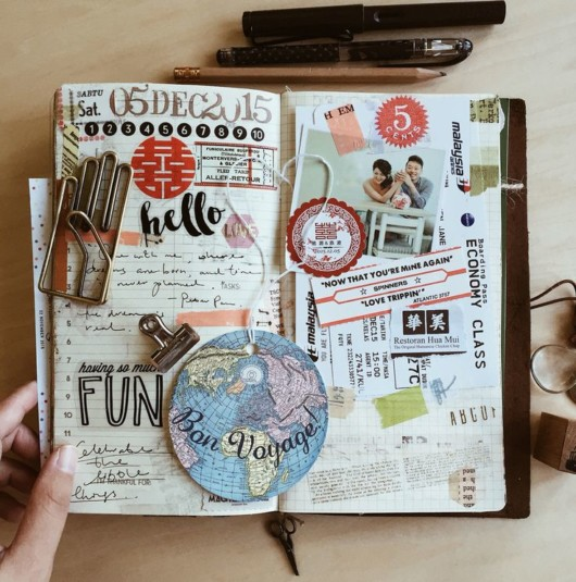 Journal full of memories, notes and pictures from the past to preserve the memory