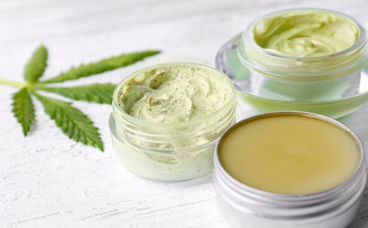 CBD salves, creams and patches areon white background