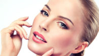 Beautiful girl's face on white background after the cosmetic procedures