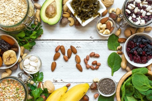 Legumes, nuts, seeds, whole grains, and green leafy vegetables that have magnesium
