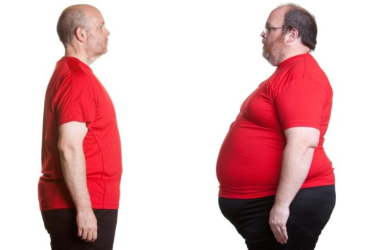 A man in red t-shirt on white background with obesity and without