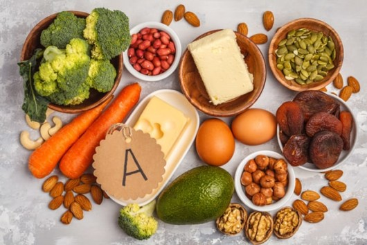 orange foods like sweet potatoes, mangoes, apricots, and cantaloupes are also filled with vitamin A