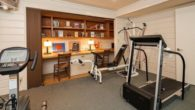 A room is used as a home gym