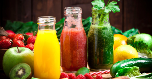 3 bottles with fruit and vegetable smoothies