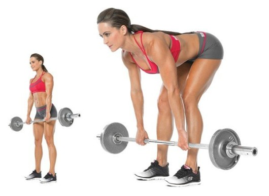 Girl with a barbell on the white background shows how to do Romanian deadlift exercise