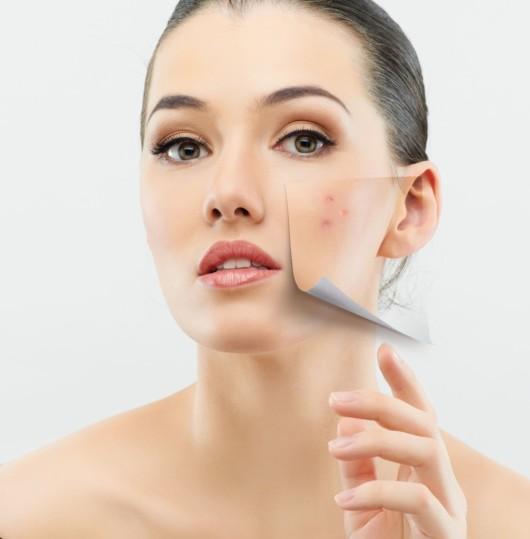 Close up girl's face with ideal and smooth skin on one side