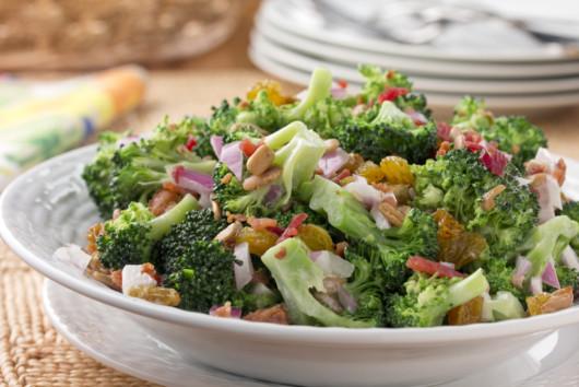 Broccoli salad on the table