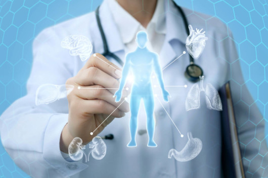 A doctor is pointing at the hologram of the man and the detoxification organs