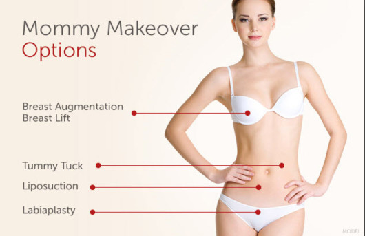 A girl in a white bra and panties on beige background shows what is included in mommy makeover and what can be changed in the body