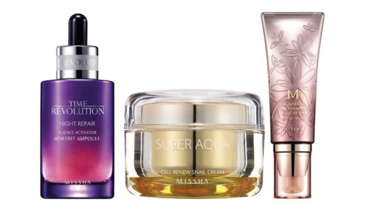 Three Missha beauty products on white background