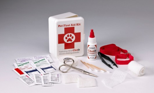 First aid kit with different supplies on white background