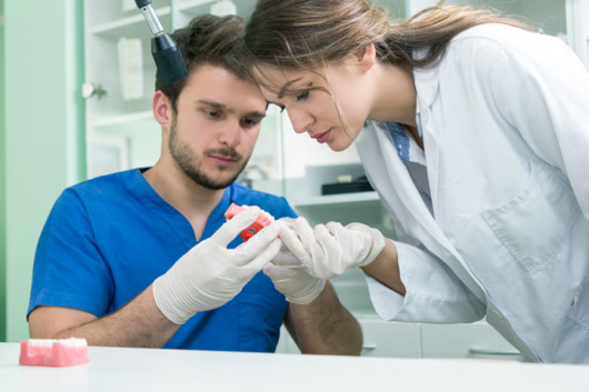 Two dentists are checking the denture closely