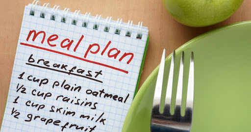 A notepad with a mean plan on the table and a fork with apple and green plate next to it