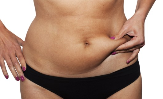 A close up picture of a woman in black panties on white with excessive body fat